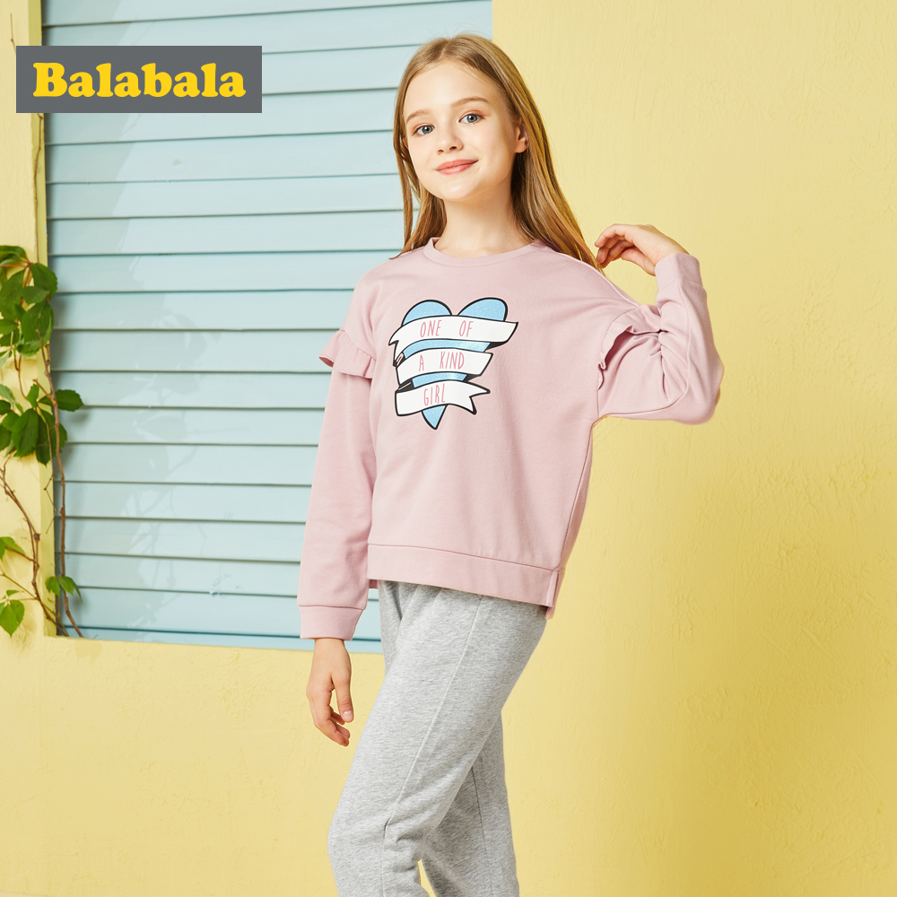 Balabala Baby Girl Clothing Set Casual Girls Spring Autumn Long Sleeved T-shirt+Pants Soft and Comfortable Kids Suits Lovely Cut aile rabbit children s clothing suits for boys and girls classic camouflage outdoor suit autumn long sleeved shirt with pants