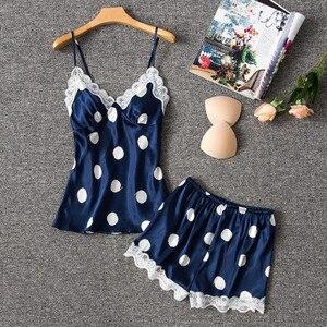 Image 4 - Daeyard משי פיג מה נשים סקסי הלבשה תחתונה Cami ומכנסיים קצרים עם תחרה לקצץ Pyjama Femme מנוקדת פיג מה הלבשת בגדי בית