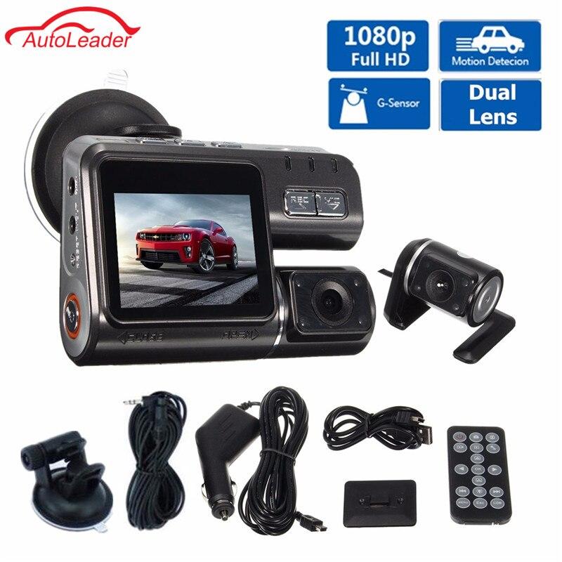 imágenes para Full HD 1080 P Coche DVR Cámara Del Vehículo Dash Cam Video Record G Sensor Dual de la Lente Dvr Cámaras + Trasero Cámara de visión