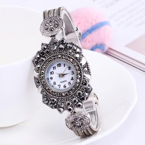 Shsby women Jewelry Watches Casual Quartz Bracelet Watch lady flower Rhinestone Clock Women Luxury Crystal Dress Wristwatches Lahore