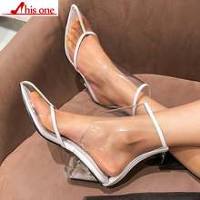 THISONE PVC Clear Heels Sandals Women Sexy Pointed Toe Wedge Transparent High Heels Runway Shoes Ankle Strap Summer Boots Female luchfive individual front zipper ankle boots for women pointed toe clear acrylic wedge heels transparent women short boots