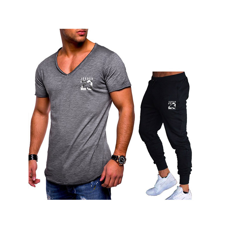 Men's Brand Sets T Shirts+Pants Men Brand Clothing Two Piece Suit Tracksuit Fashion Casual Tshirts Gyms Workout Fitness Sets