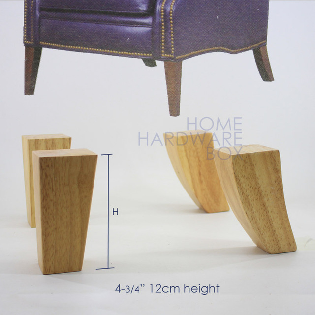 12cm Sofa Wooden Leg Natural Wood Furniture Stool Square Legs 4 Pc