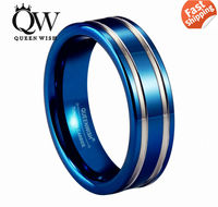 Queenwish 8mm Blue Tungsten Wedding Rings Double Silver Grooved Men S Infinity Band Anniversary Vintage Fashion