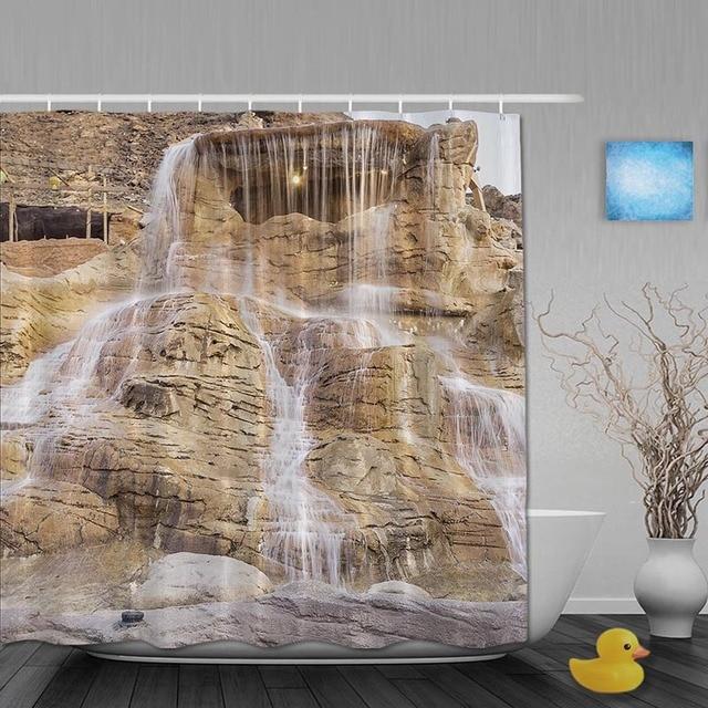 Waterfall Stone Bathroom Shower Curtains Natural Scene Curtain Waterproof Polyester Fabric Custom Hooks