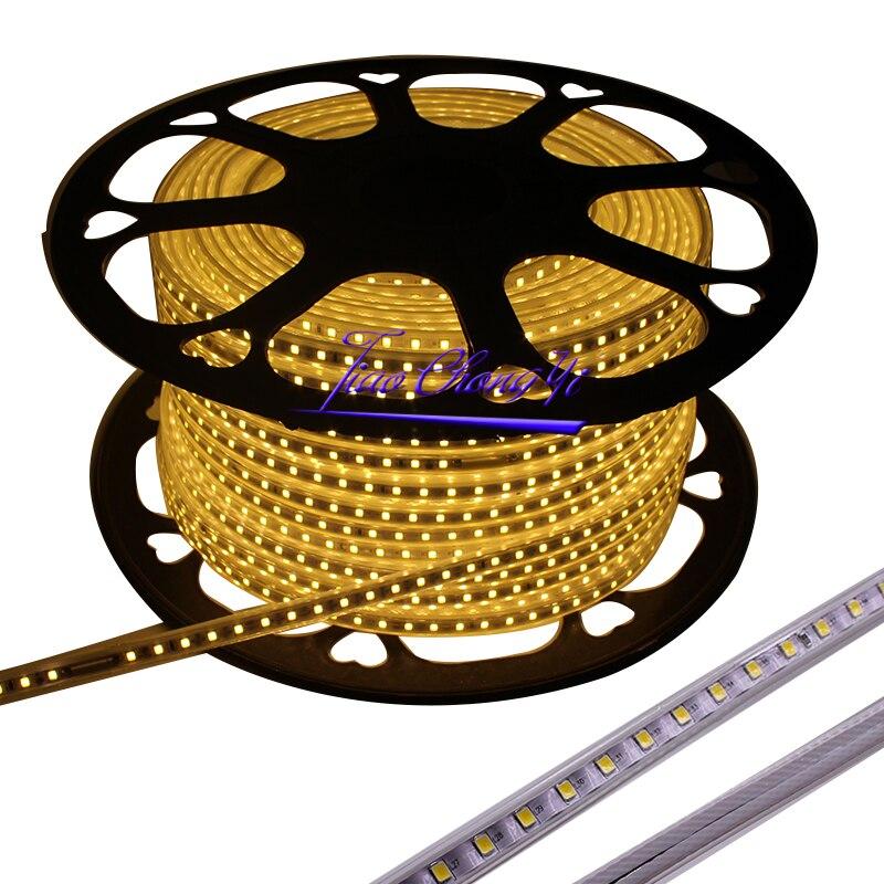 220VAC Светодиодная лента 2835 100 светодиодов/м IP67 водонепроницаемая с адаптером питания гибкая светодиодная лента наружная 50 м/рулоны, 100 м/руло... - 2