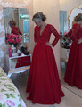 2016 New Design Elegant Long A-line Red Taffeta Lace Evening Dresses Pearls Lady Prom Party Gown With Long Sleeves R052413