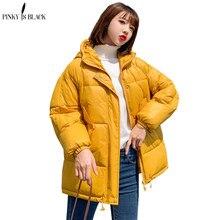 PinkyIsBlack 2020 אופנה בתוספת גודל 2XL למטה מעילי נשים חורף מעיל קצר לעבות חם כותנה מרופדת חורף מעיל נשים מעיל