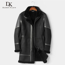 Men Genuine Leather with Fur Jackets Male Winter Warm thick Coats Sheepskin Wool liner Plus
