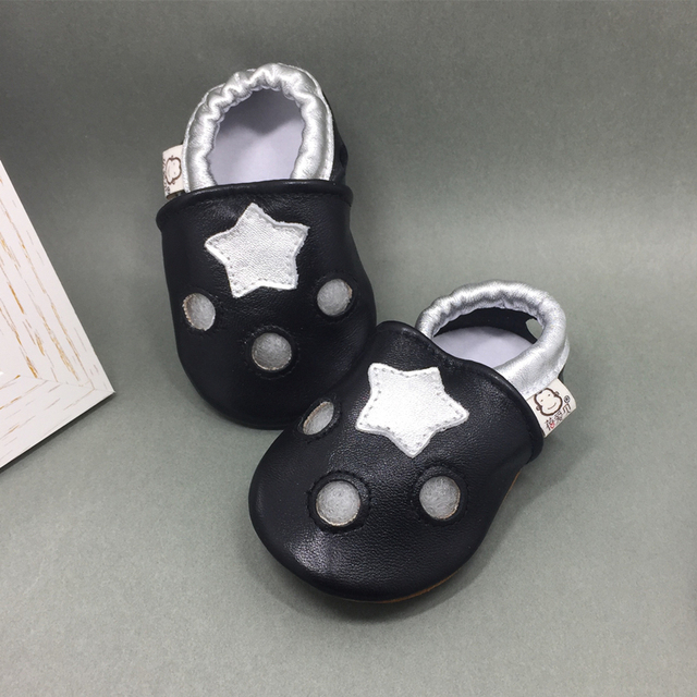 Genuine Leather Baby Moccasin Hole Star Print Soft Sole Newborn Baby Girl Shoes Breathable Infant Boy Loafers Chinelo Infantil