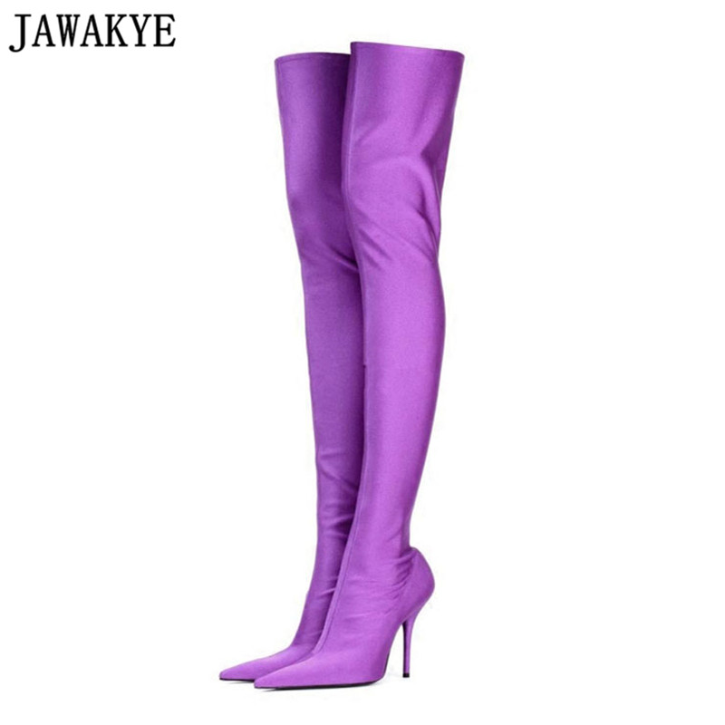 JAWAKYE Spring Fall Silk Elastic Over the Knee Boots Women high Heels Thigh High Botas Mujer Candy Color Wedding Dress Shoes spring autumn silk elastic over the knee boots women stiletto heel thigh high botas mujer candy color wedding party dress shoes