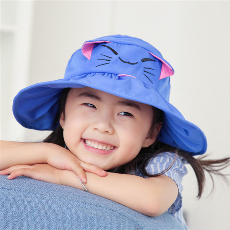 New Children Prevent Waste Sunshade Sun Hat Cat Ear Beach Empty Hats Uv Protection Girl Cap