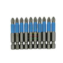 """New 10 PC 1/4"""" Hex Magnetic Non Anti Slip Long Reach Electric Screwdriver Bits PH2 Length 50mm Single Side Power Tools"""