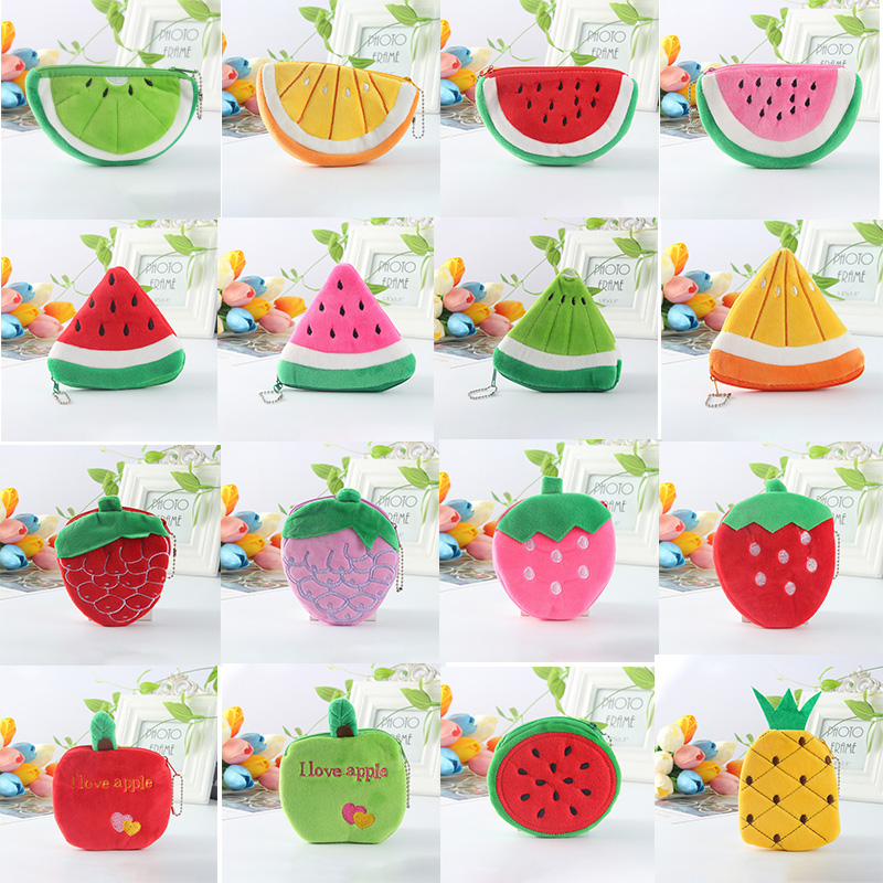 Generous Kawaii Cartoon Watermelon Fruit Children Plush Purse Zip Change Purses Coin Bag Wallet Kids Girl Women For Gift Convenient To Cook