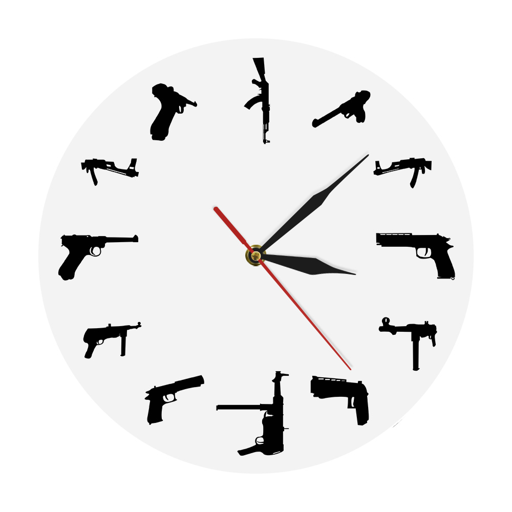 <font><b>Guns</b></font> Family Army Weapons Modern Mood Wall Clock Acrylic <font><b>Gun</b></font> Types Theme Decorative Time Clock Unique Gift For Boy image