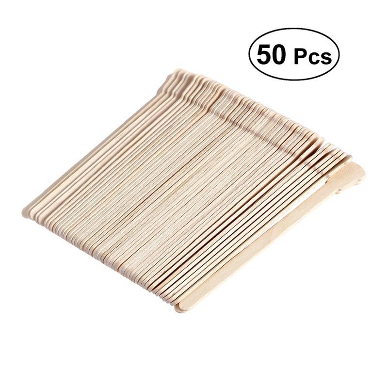 50pcs Wooden Spatulas Body Hair Removal Sticks Wax Waxing Disposable Sticks Pearl Wax Tool Mask Mud Wiping Sticks