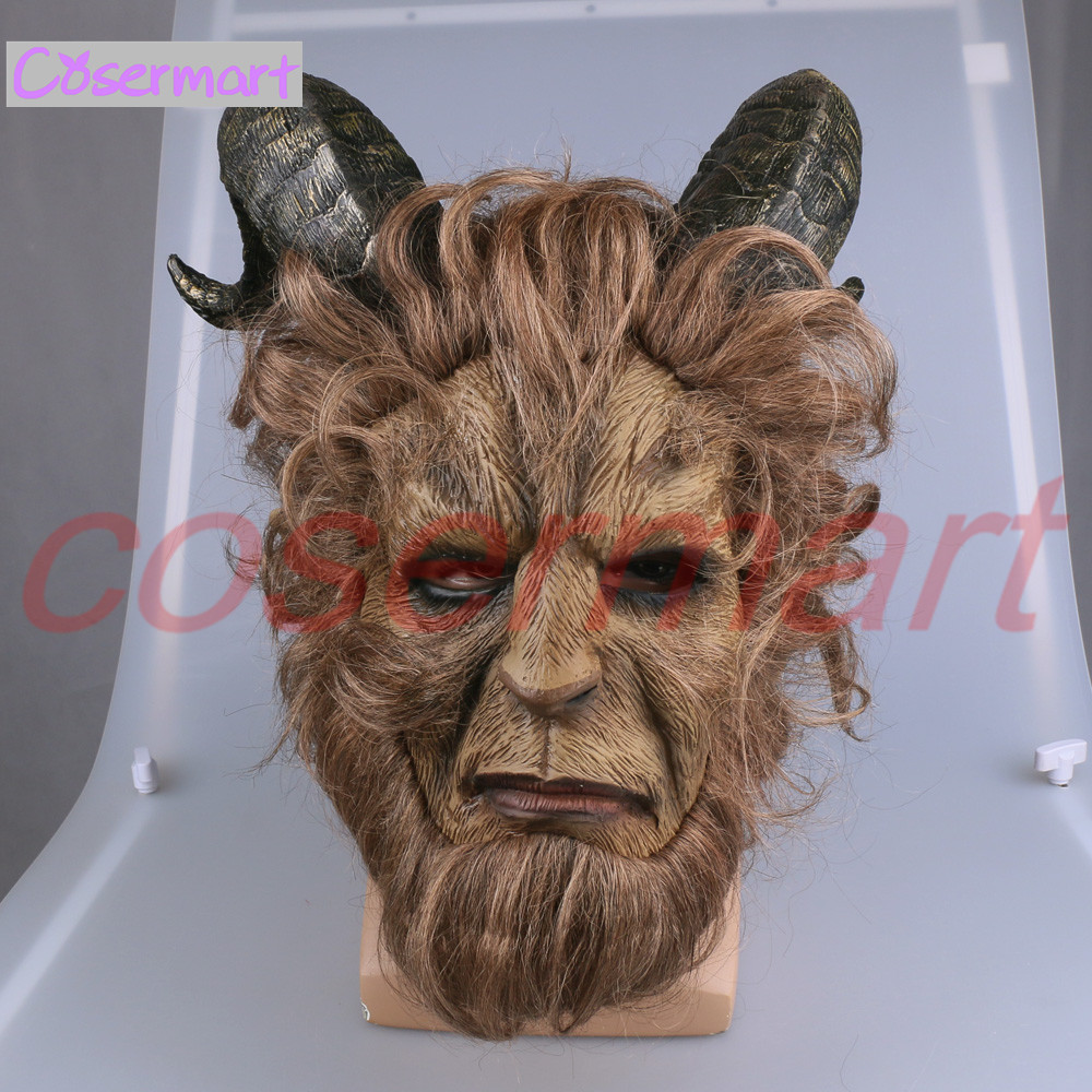 2017 Hot Movie Beauty and the Beast Adam Prince Mask Cosplay Horror Mask Latex Lion Helmet Halloween Party (8)