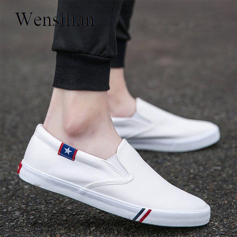 1d85076f Cheap Zapatillas de lona para hombre, zapatos vulcanizados, zapatos de  verano, mocasines blancos