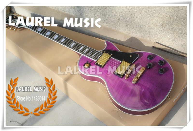 good cheap price electric guitar purple tiger flame solid mahogany body with golden hardware. Black Bedroom Furniture Sets. Home Design Ideas