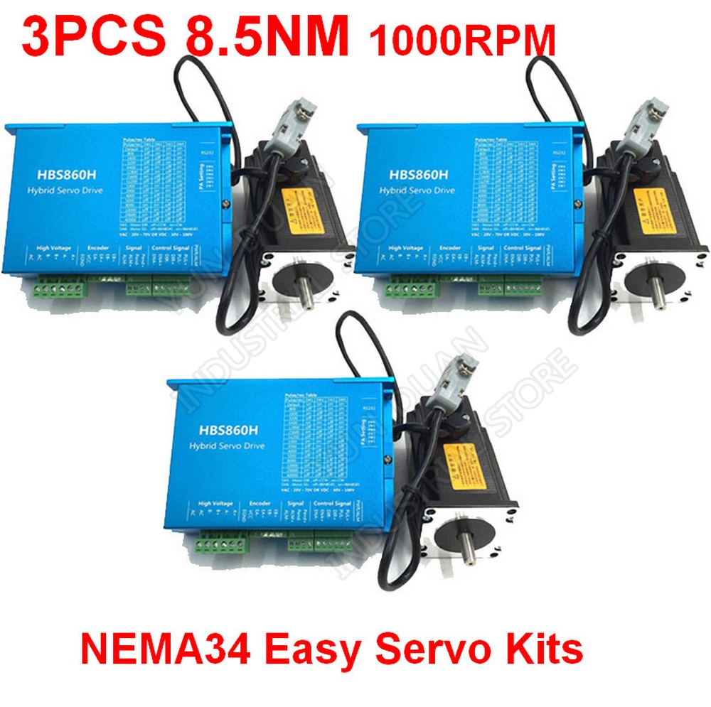 3PCS Nema34 8 5Nm 86MM AC DC DSP Closed Loop Stepper Motor Driver With Cooling fan