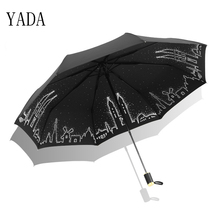 цена YADA Design Fairy Tale Folding Twin Towers Pattern Umbrella Rain Women uv High Quality Umbrella For Womens Brand Umbrellas YS411 онлайн в 2017 году