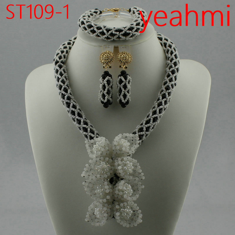 Splendide nigérian mariage corail déclaration bijoux ensemble fait à la main corail perlé africain collier Bracelet boucles d'oreilles ensemble ST109-2