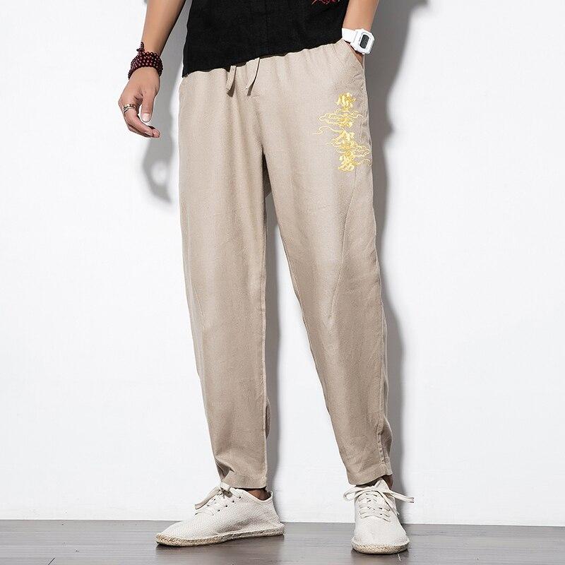 Casual Pants Men Embroidery Joggers  Streetwear Men Trousres Full Length Pants Male
