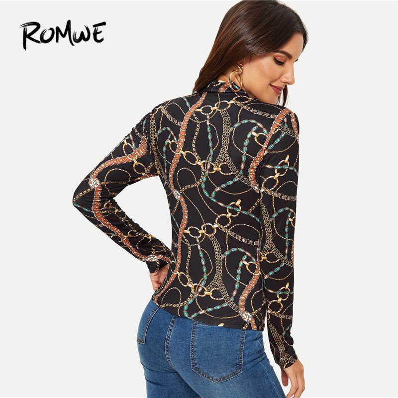 947b9596f ... ROMWE Mock-Neck Chain Print Tee 2019 Fabulous Stand Collar Slim Fit T  Shirt Long ...