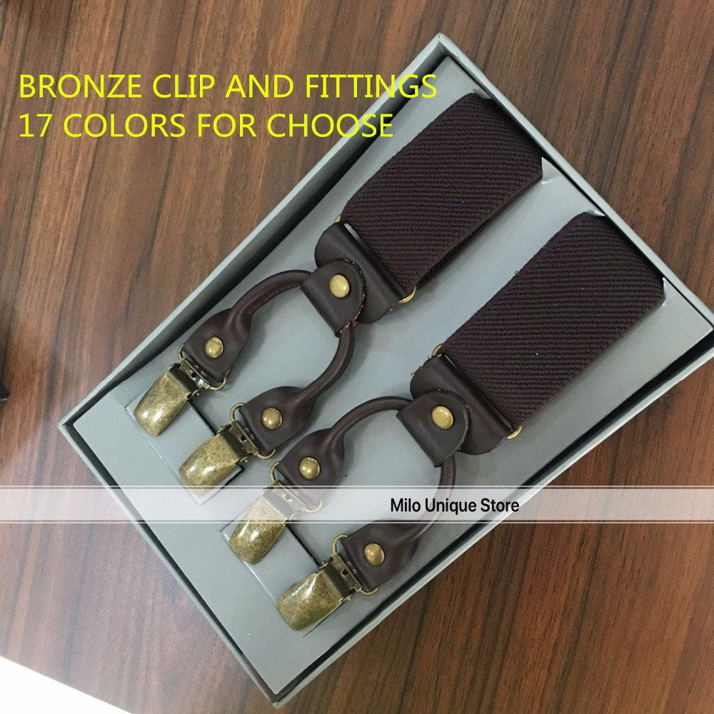 20% off order before 8TH AUGUST MENS GENUINE LEATHER VINTAGE 6CLIPS BRONZE FITTINGS SUSPENDER BRACES COLORFUL 3.5CM WIDTH