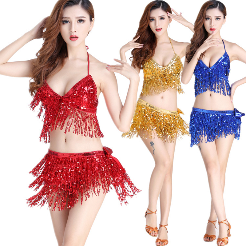 Latin Dance Dress Women Sequin Halter Top Bra Belt Hip Skirt Set Sexy Belly Dance Costume Tassel Temptation Stage Performance