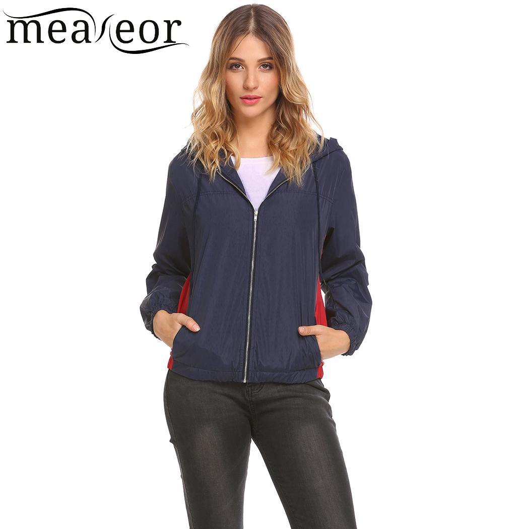Meaneor Casual Drawstring Women Overcoat Long Sleeve Hooded Autumn   Jacket   Solid Elastic Hem Women Outwear Cuffs   Basic     Jacket