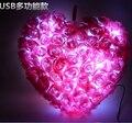 Rosas románticas LED Del Corazón Del Amor Noche de Luz de Flash Glowing Luminoso Rosa Almohada de Peluche de Felpa Juguetes de regalo de navidad