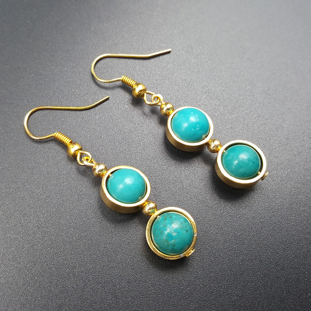 LiiJi Unique 8mm Blue Turquoises Round Beads Dangle  Earrings