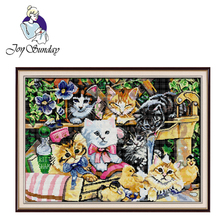 цена на Joy Sunday,Cat family,animal pattern cross stitch embroidery,printing cloth embroidery kit,cross stitch needlework,cross stitch