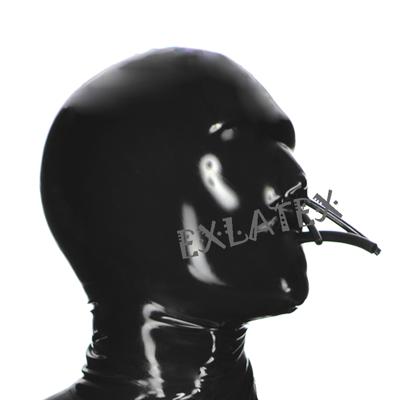 Latex Hood Unisex Rubber Hoods Latex Mask Toxic Black out Euphoric Hood with Tube at the