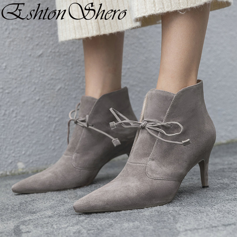 EshtonShero Women Ankle Boots Shoes Woman Thin High Heels Lace Up Kid Suede+PU Platform Gray Ladies Motorcycle Boot Size 33-40