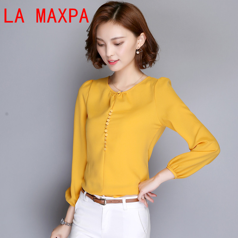 Plus Size Women   Blouses   2019 Long Sleeve Autumn Chiffon   Blouse     Shirt   Casual Loose Elegant Ladies Blusas Tops White Pink 8319