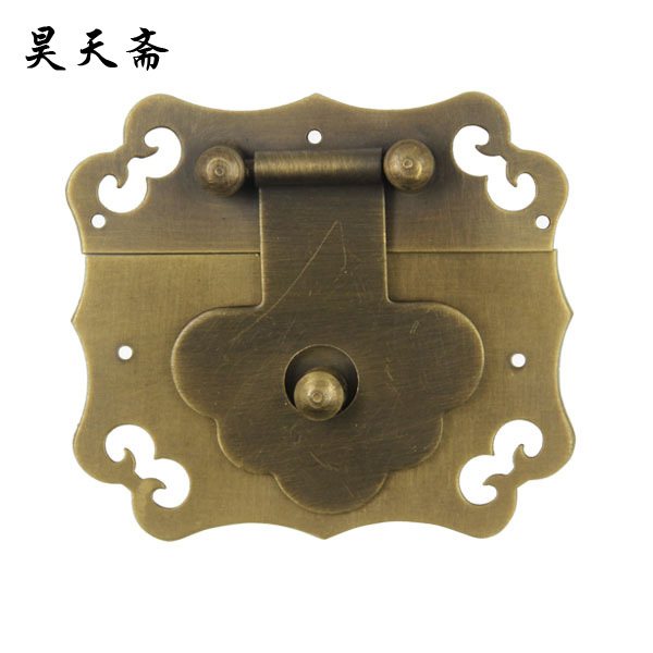 [Haotian vegetarian Chinese antique jewelry box] bronze fittings copper box buckle clasp tricolor HTN 086