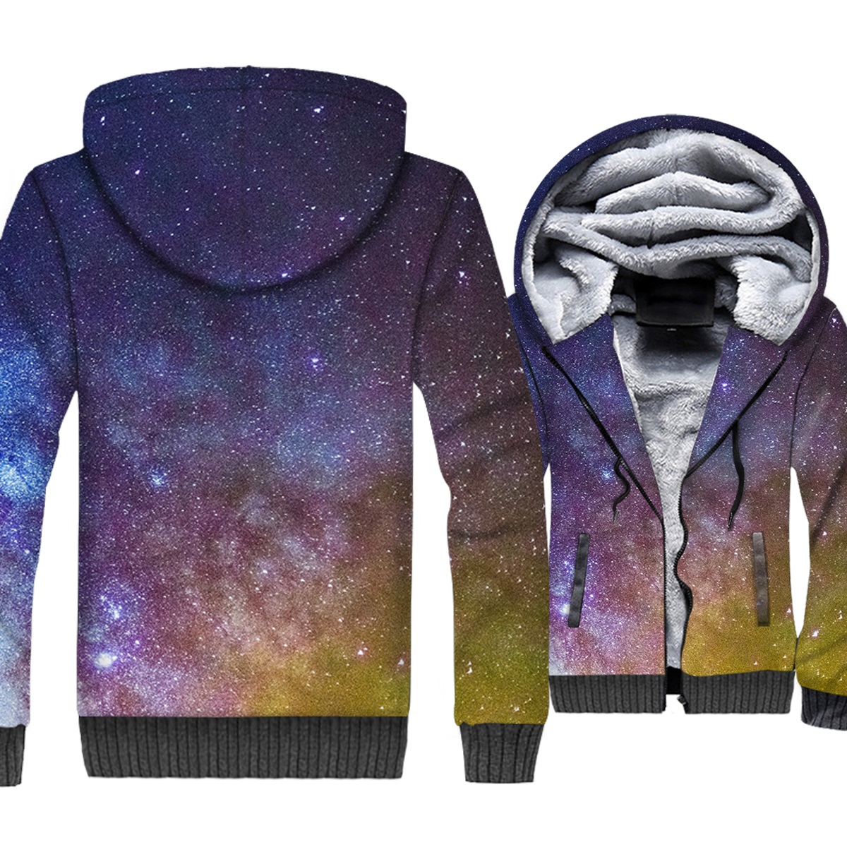 Space Galaxy 3D Print Hoodie Men Colorful Nebula Hooded Sweatshirt Harajuku Coat Winter Thick Fleece Warm Stars Nebula Jacket