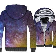 Space Galaxy 3D Print Hoodie Men Colorful Nebula Hooded Sweatshirt Harajuku Coat Winter Thick Fleece Warm Stars Jacket