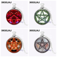 XKXLHJ Personality Time gem necklace pentagram witchcraft glass pendant charm necklaces hidden charms jewelry pendants