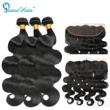 Panse Hair Human Hair Bundles With One Lace Frontal Body Wave Brazilian Hair 3 PCS/Lot Thick Full Bundles Non Remy Free Shipping(China)