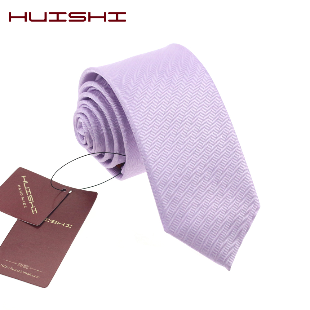 HUISHI Hot Sale 6cm Men Wedding Accessories Neck Tie For Men Lilac Purple 8cm Slim Fashionable Party Business Formal Neckties