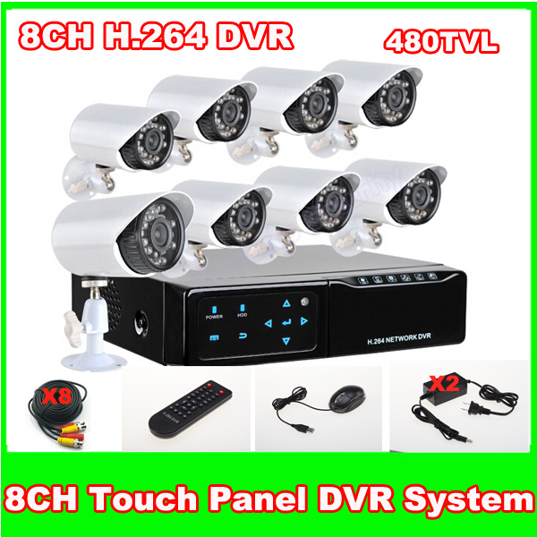 Home 8 CH H.264 Touch Mini Realtime DVR Kit 8PCS 480TVL CMOS IR Waterproof Outdoor Day Night CCTV Camera Surveillance System
