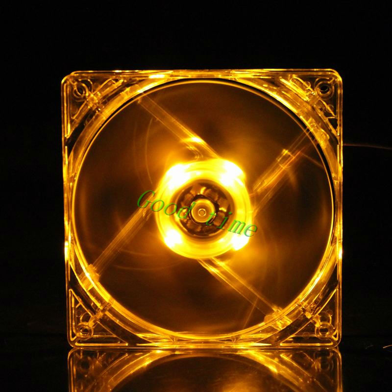 Gdstime 1 Piece 4Pin DC 12V 80mm x 80mm x 25mm Yellow LED Light PC Computer Cooling Cooler Case Fan gdstime 10 pcs dc 12v 14025 pc case cooling fan 140mm x 25mm 14cm 2 wire 2pin connector computer 140x140x25mm
