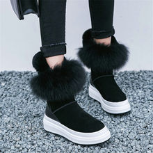 NAYIDUYUN  Women Shoes Genuine Leather Wedges Platform High Heel Snow Boots Round Toe Real Fur Oxfords Winter Warm Sneakers