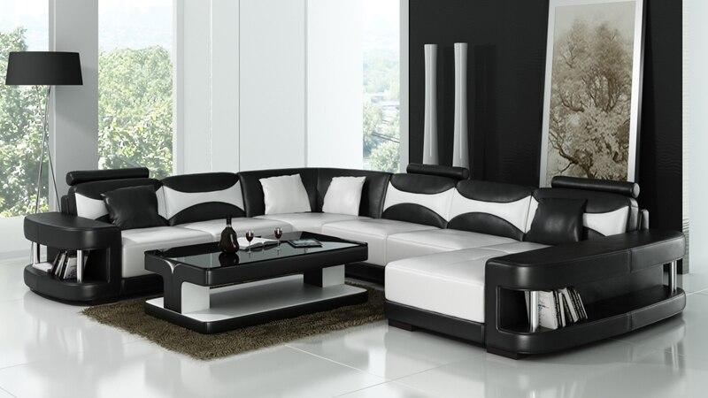 Kontemporer Desain Sofa Kulit 0413 F3001 Di Sofa Ruang Tamu Dari
