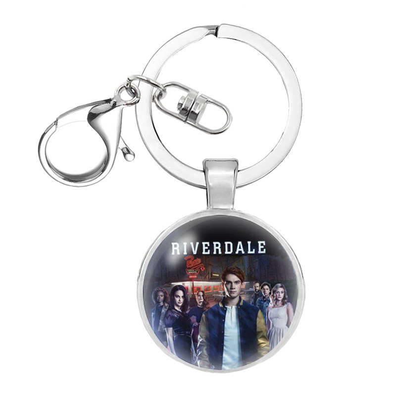 2018 New Mysteries Of Riverdale Glass Cabochon Keychain Riverdale Key Chain Women Silver Movie KeyringsThanksgiving  gift