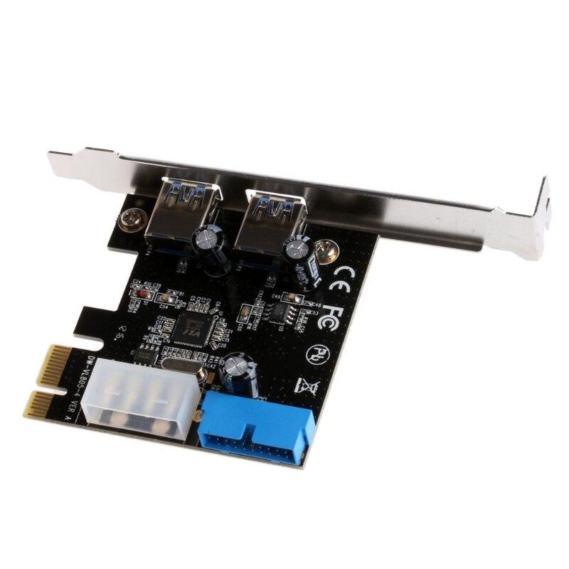 2 Ports PCI Express USB 3.0 Panneau Avant avec Contrôle Carte Adaptateur Broches et 20 Broches