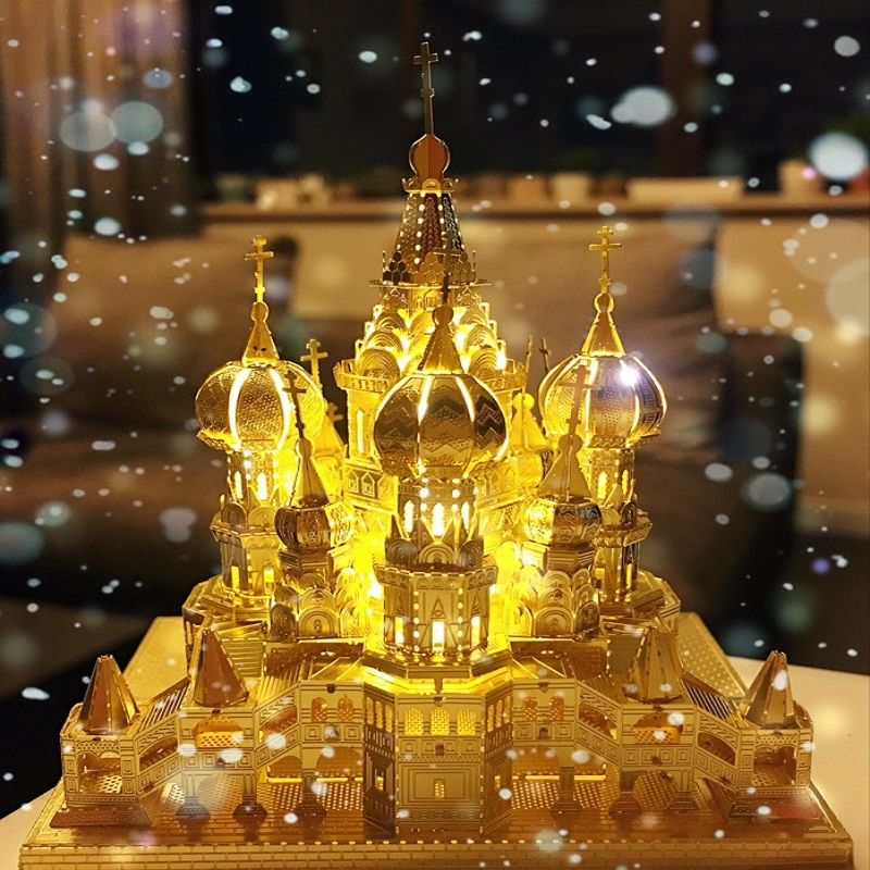 Notre Dame Night Lights 3D Puzzle Diy Vasily Church Led Lamp Lighted Base Display Novelty Office Gifts Home Wedding Decoration